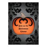 Gothic Halloween pumpkin on elegant damask Personalized Announcement