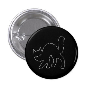 Gothic Halloween Scary Kitty Cat Pinback Button