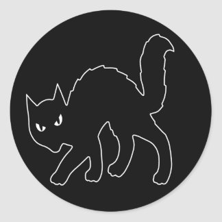 Gothic Halloween Scary Kitty Cat Round Stickers