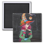Gothic Halloween Witch Cat Magnet