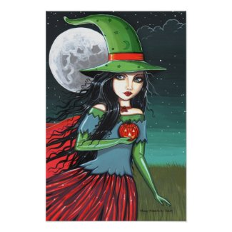 Gothic Halloween Witch Poster by Molly Harrison print