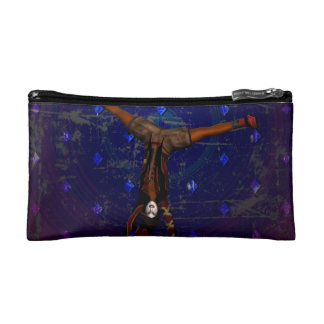 GOTHIC HARLEQUIN CLOWN ON PURPLE COSMETIC BAG