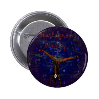 GOTHIC HARLEQUIN CLOWN ON PURPLE PINBACK BUTTON