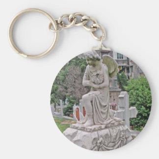 Gothic Headstone woman holding a wreath Key Chain