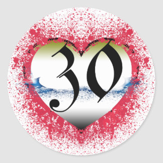 Gothic Heart 30th Gifts, Classic Round Sticker