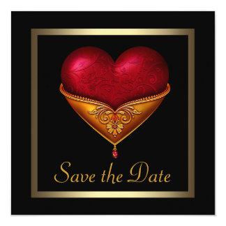 Gothic Heart Black Wedding Save The Date 5.25x5.25 Square Paper Invitation Card