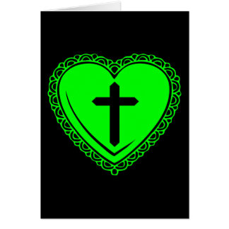 Gothic Heart + Cross (Black + Green) Cards
