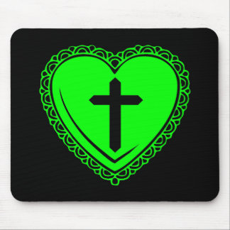 Gothic Heart & Cross (Black + Green) Mouse Pad