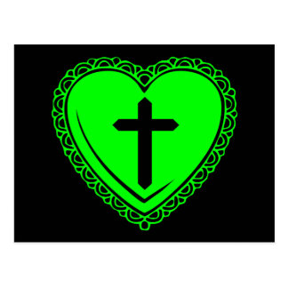 Gothic Heart + Cross (Black + Green) Postcard