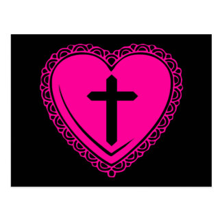 Gothic Heart + Cross (Black + Pink) Postcard