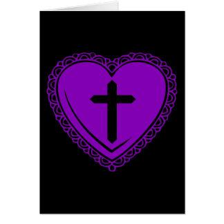 Gothic Heart + Cross (Black + Purple) Greeting Cards