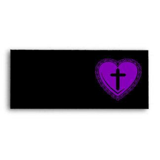 Gothic Heart + Cross (Black + Purple) Envelopes