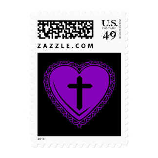 Gothic Heart + Cross (Black + Purple) Postage Stamps