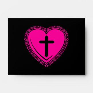 Gothic Heart + Cross Envelopes (Black + Pink)
