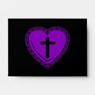 Gothic Heart + Cross Envelopes (Black + Purple)