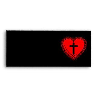 Gothic Heart + Cross Envelopes (Black + Red)