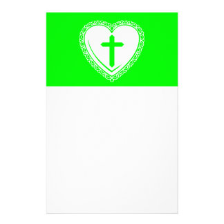 Gothic Heart + Cross (Green + White) Stationery