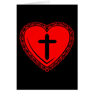 Gothic Heart + Cross Greeting Card (Black + Red)