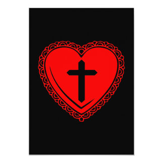 Gothic Heart + Cross Invitations (Black + Red)