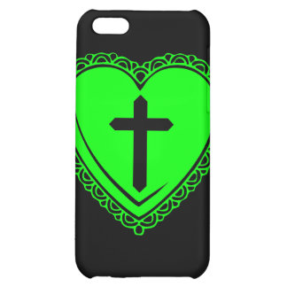 Gothic Heart + Cross iPhone 3 Case Black Green iPhone 5C Covers
