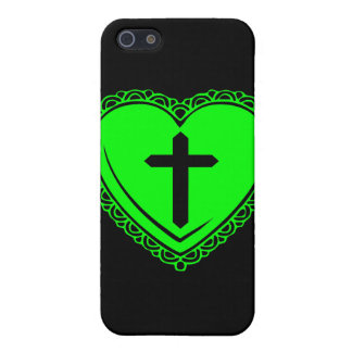 Gothic Heart + Cross iPhone 3 Case Black Green Case For iPhone 5