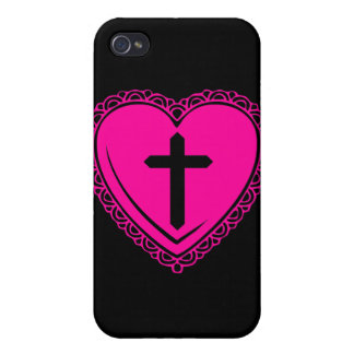 Gothic Heart + Cross iPhone 3 Case Black Pink iPhone 4 Covers