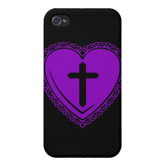 Gothic Heart + Cross iPhone 3 Case Black Purple iPhone 4 Cover