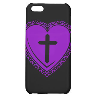 Gothic Heart + Cross iPhone 3 Case Black Purple Case For iPhone 5C