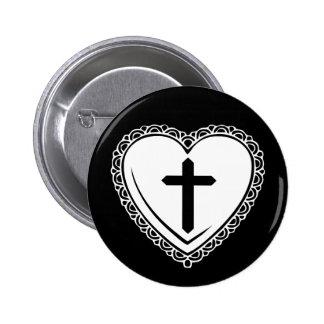 Gothic Heart & Cross Pin (Black & White)