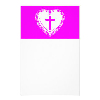 Gothic Heart + Cross (Pink + White) Stationery