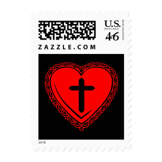 Gothic Heart + Cross Postage Stamps (Black + Red)