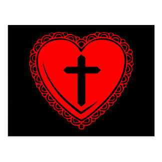 Gothic Heart + Cross Postcard (Black + Red)