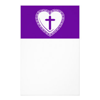 Gothic Heart + Cross (Purple + White) Stationery