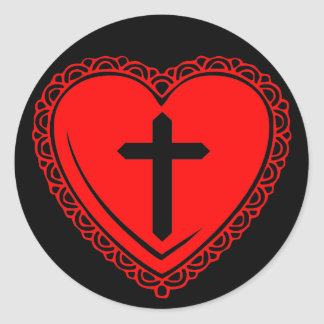 Gothic Heart + Cross Stickers (Black + Red)