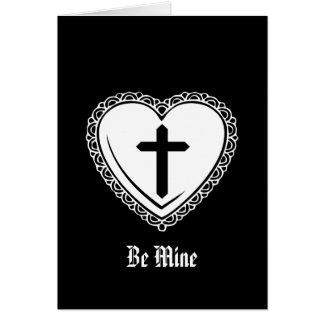 Gothic Heart Cross Valentine Greeting Card