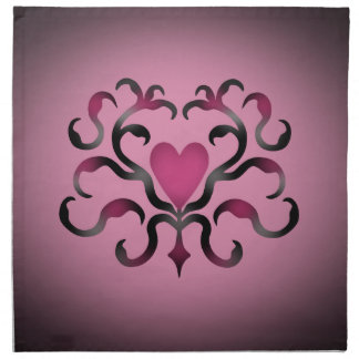 Gothic heart damask in pink napkin