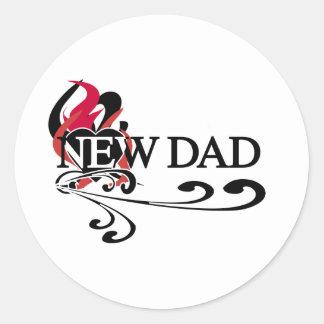 Gothic Heart New Dad Classic Round Sticker