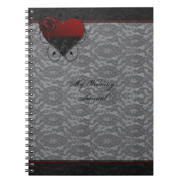 Halloween Themed Gothic Hearts and Roses Elegant Wedding Journal