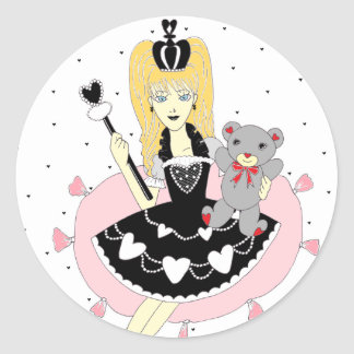 Gothic Hearts Princess Classic Round Sticker