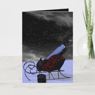 Gothic Holiday: Winter Landscape Sleigh Holiday Card