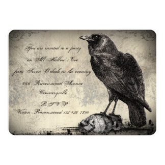 "Gothic Horror Halloween Party Invitation The Raven 5"" X 7"" Invitation Card"