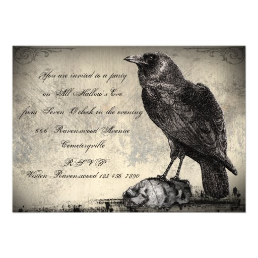 Gothic Horror Halloween Party Invitation The Raven