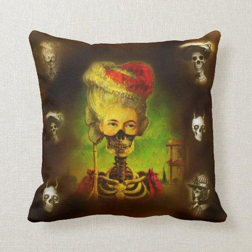 Gothic Horror Skeleton Throw Pillow