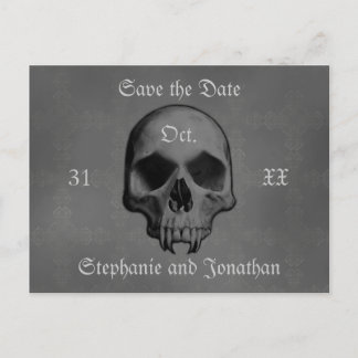 Gothic horror skull | Save the date wedding Announcement Postcard