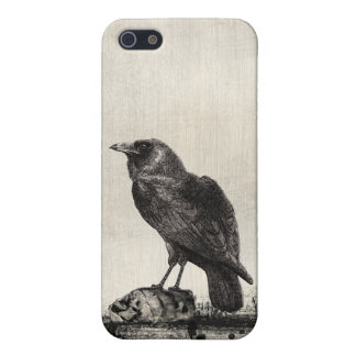 Gothic Horror The Raven and Skulls iPhone SE/5/5s Case