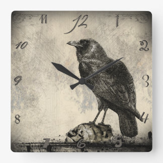 Gothic Horror Themed Vintage Raven Image Clock