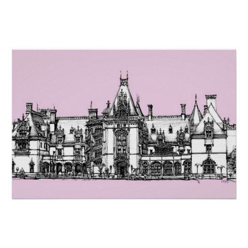 Gothic house in Pink Print