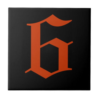 Gothic House Number Tile - Red on Black