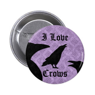 Gothic I Love Crows black and purple Pinback Button
