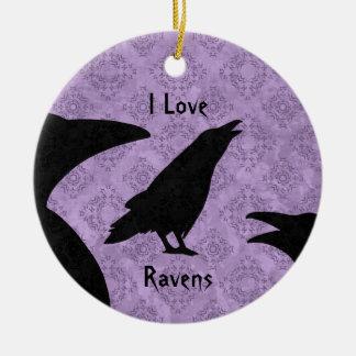 Gothic I Love Ravens Ceramic Ornament
